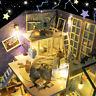 DIY Wooden Dolls House Miniature Kit LED Light Dollhouse Furniture Kids Gift  A