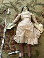 "Antique 1870s 21"" China Head Doll with dress and knit boots Wavy Hair"