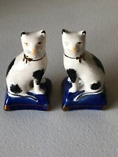 Sweet! Antique Pair Of English Porcelain Staffordshire Cats Figurines on Pillows