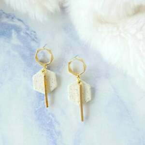 Handmade Polymer Clay Hexagon with Golden Bar Dangle Earrings