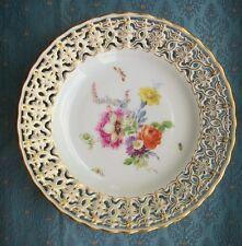VECCHIO Vintage Antico Tedesco Meissen Porcellana reticolato Piercing Piastra di porcellana