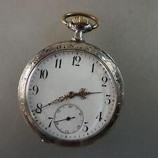 Offene Jugendstil Herrentaschenuhr Zenith Silber um 1900 (43757)