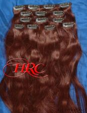 "TWO HAIR EXTENSION 16"" AUBURN 100% HUMAN 14 CLIP ON IN WEFT REMI QUALITY"