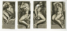 4 Rare Antique Master Prints-MALE NUDE FIGURES-FRIEZE-SCULPTURE-Anonymous-c.1650