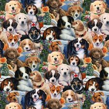 Animal Fabric - Garden Puppies Packed Dog Flowers - David Textiles YARD