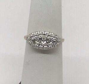 Vtg Diamond Princess Ring 10K Yellow Gold 2.4g Size 6.0 Handkraft Oval Heart NOS
