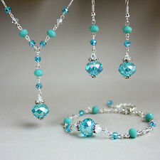 Turquoise blue crystals silver necklace bracelet earrings wedding jewellery set