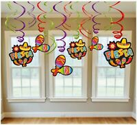 DECORATING SWIRL VALUE PACK FIESTA HANGING DECORATION PARTY SUPPLIES
