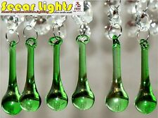 GREEN CHRISTMAS TREE DECORATIONS 6 BEAD CHANDELIER DROPS GLASS CRYSTALS DROPLETS