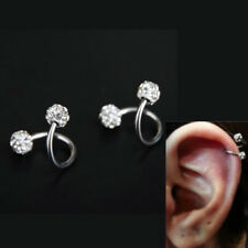 New Crystal Body Piercing Stainless Steel Twist Ear Helix Cartilage Earring Stud