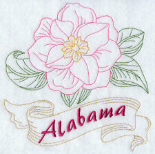 "STATE OF ALABAMA FLOWER FLORAL REDWORK 8"" MACHINE EMBROIDERED QUILT BLOCK (HP)"