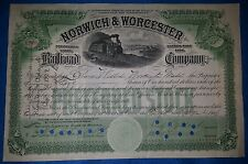Norwich & Worcester Railroad Company 5 SHARES Preferred Stock. September 12 1906