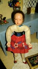 Antique Caco Metal Hands +Feet Dollhouse Girl Doll Wrapped Legs Vintage Flexible