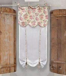 Tenda finestra con Mantovana Shabby Chic 60 x 220 Colore Bianco Ecru Rosa