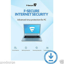 F-Secure Internet Security 2017 Latest 1 PC 1 Year Antivirus Download Key Global