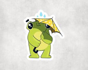 2 x Frog Umbrella Scrapbook Sticker Stickers Laptop