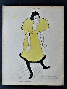 """TOULOUSE-LAUTREC """"Polaire"""" Original Lithograph 1895"""