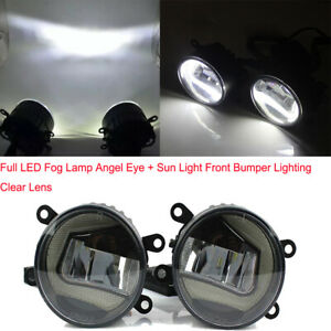 Universal Full LED Fog Lamp Angel Eye + Sun Light Front Bumper Lighting Durable