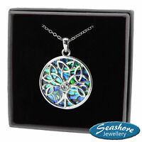 """Celtic Tree of Life Necklace Abalone Shell Pendant Silver Fashion Jewellery 18"""""""