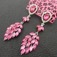 Women's Pink Crystal Rhinestone Leaf Betsey Johnson Stud Earrings