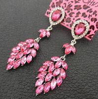 Women's Pink Crystal Rhinestone Leaf Betsey Johnson Stud Earrings
