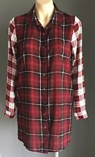 NWOT SPORTSGIRL Red/Black/White Check Long Shirt Dress Size 8