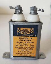 Vtg Cornell-Dubilier Dykanol A Capacitor,  TJU 10010, 1 MFD, 1000VDC Made USA
