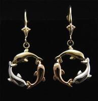 14K TRICOLOR GOLD HIGH POLISH HAWAIIAN 3D DOLPHIN CIRCLE LEVERBACK EARRINGS