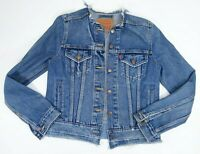 New Levis Womens Up-Cycled Patched Trucker Denim Jean Jacket Raw Hem S