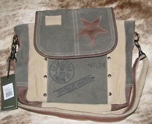 "Myra #0896 Leather & Military Tent 10.5""x3.5""x9"" Star Shoulder Handbag~Pockets"