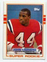 1989 Topps #194 JOHN STEPHENS New England Patriots SUPER ROOKIE CARD RC