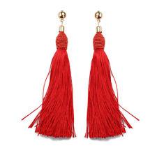 1 Pair Women New Bohemian Style Long Tassel Dangle Fringe Hook Earrings Gift #6