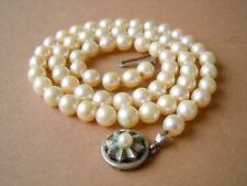 Alte echte Perlen Kette schöner 835/Jka Silber Verschluß 24 g/45 cm