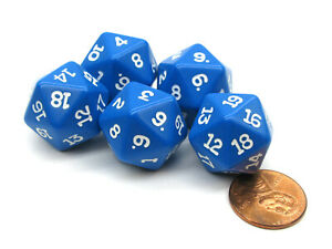 Set of 5 Twenty Sided 19mm D20 Opaque Dice RPG D&D Blue with White Numbers Die