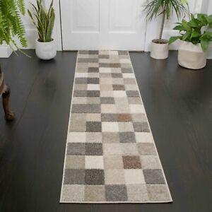 Natural Carpet Runner Mats Geometric Retro Square Modern Beige Hall Area Rugs UK