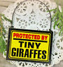 Doorhanger Sign PROTECTED by Tiny GIRAFFE s Wood Ornament Everyday DecoWords