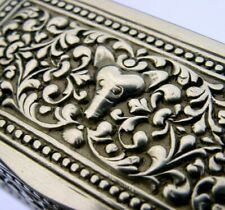 QUALITY CEYLON SOLID SILVER SNUFF BOX c1900 EASTERN ANTIQUE 52g