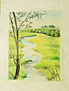inspired stream water country mixed media painting paper and board