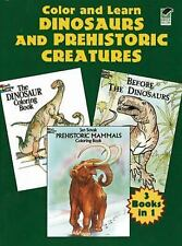 """Color and Learn """"Dinosaurs and Prehistoric Creatures"""" - 3 Books in 1 - 144 Pages"""