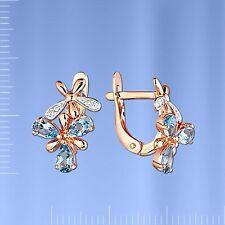 Rotgold 585 Rose Gold Ohrringe mit Topas und CZ BLUME 3.63g Neu  Glänzend