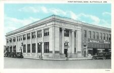 A View Of The First National Bank, 20's Autos, Blytheville, Arkansas AR