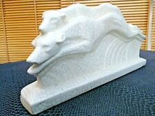 jolie sculpture en céramique craquelé art-déco course de lévriers début 20 ème