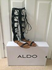 5626aa2df7b ALDO Umarelle Black Knee High Gladiator Flat Tie Sandal Size 4