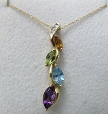 NWT 10K Yellow Gold Multi-stone Marquise & Diamond Pendant Necklace 18""