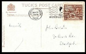 GB 1924 Tucks Postcard Empire Exhibition Wembley SHS 1 1/2d with Perfin