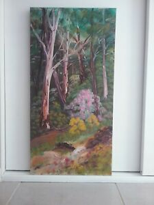 "Australian Oil painting 30 x60cm by Debra Lohrere ""Gum Tree Gully"""