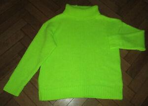 Pura Moda Neon Green Knit Long/S Polo Neck Jumper M
