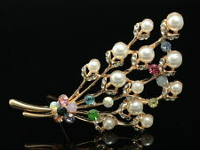 gold flower scarf brooch pin F99 bouquet prom clear crystal cream pearl beads