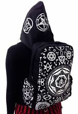 Black Pentagram Gothic Punk With Removable Hoodie Backpack By Banned Apparel