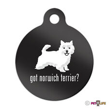 Got Norwich Terrier Engraved Keychain Round Tag w/tab Many Colors